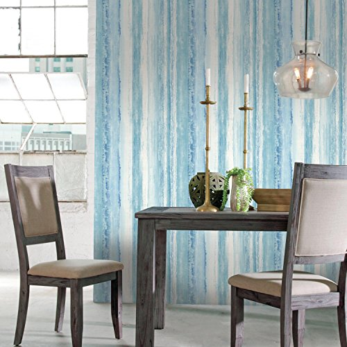 (RoomMates Blue Watercolor Stripe Peel and Stick Wallpaper)
