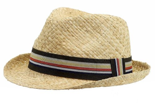Woven Soft Straw Fedora with Striped Band, Raffia, Large (Band Raffia)