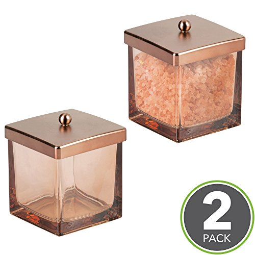 mDesign Bathroom Vanity Square Glass Storage Organizer Canister Jar, with Lid for Q tips, Cotton Swabs, Cotton Rounds, Cotton Balls, Makeup Sponges, Bath Salts - Pack of 2, Sand/Venetian Bronze - Bronze Jar