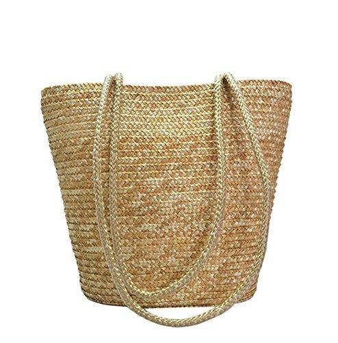 Tonwhar Simple Elegant Straw Woven Beach Tote Bag Purse (Natural Color)