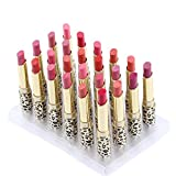 Anself 12 Colors 24pcs Leopard Print Lipsticks Moisturizing Lip Balms Set Waterproof Long Lasting