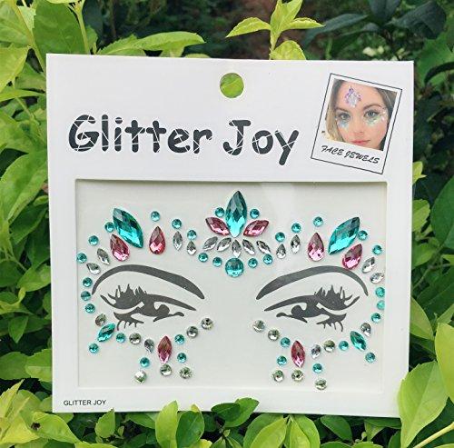 DaLin Face Gems Rave Festival Jewels Crystals Bindi Rainbow Tears Rhinestone Temporary Tattoo Face Rocks SFA009 (Multi-color) ()