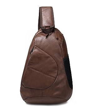 freemaster Hombre Piel Sintética, diseño vintage hombro Mochilas Sling Pecho Bolsa Crossbody Bolso de Cool pequeña mochila de senderismo bolsas de Messenger ...
