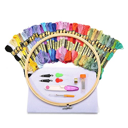 Cross Stitch Range - Full Range of Embroidery Starter Kit Cross Stitch Kit - Tools & Home Improvement Hand Tools - 1 X bamboo embroidery hoop, 40 X Color Threads, 1 X 14 count white cotton classic reserve aida