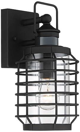 motion sensor outdoor wall light lantern anapos 12 12quoth black caged motion sensor outdoor wall light 12