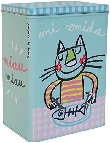 Laroom Caja Metálica diseño Mi Comida para Gato Pequeña, Metal, Multicolor, 14x10x20 cm: Llenas Anna: Amazon.es: Hogar