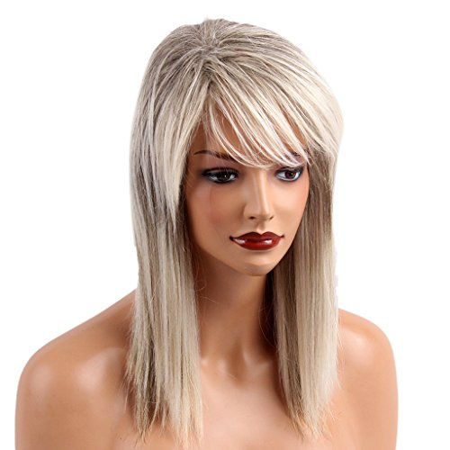 MagiDeal Chic Long Straight Wigs For Women Human Hair & Bangs Fluffy Layered Wig Mixed Color