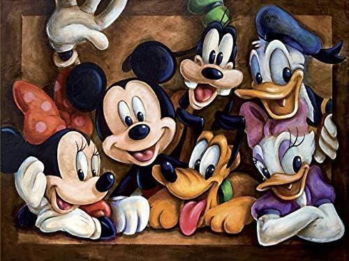 WENTS DIY 5D Kit de peinture diamant pour adultes Disney Mickey Mouse et Donald Duck avec strass pour d/écoration murale 50 x 40 cm
