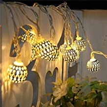 LED String Lights Outdoor,MUEQU 15.7ft 20LED Globe Lanterns Metal Solar String Lights,Decoration Lights for Christmas Garden Lawn Patio Trees Weddings Parties(Moroccan Ball)