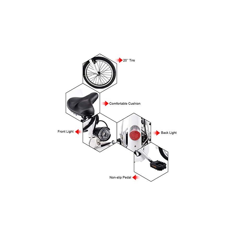 "Goplus Folding Electric Bike 20"" 250W Sport Mountain Bicycle 6 Speed Gear 36V Lithium Battery (White)"