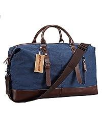Travel Duffel Bag Canvas Bag PU Leather Weekend Bag Overnight (Deep Blue)