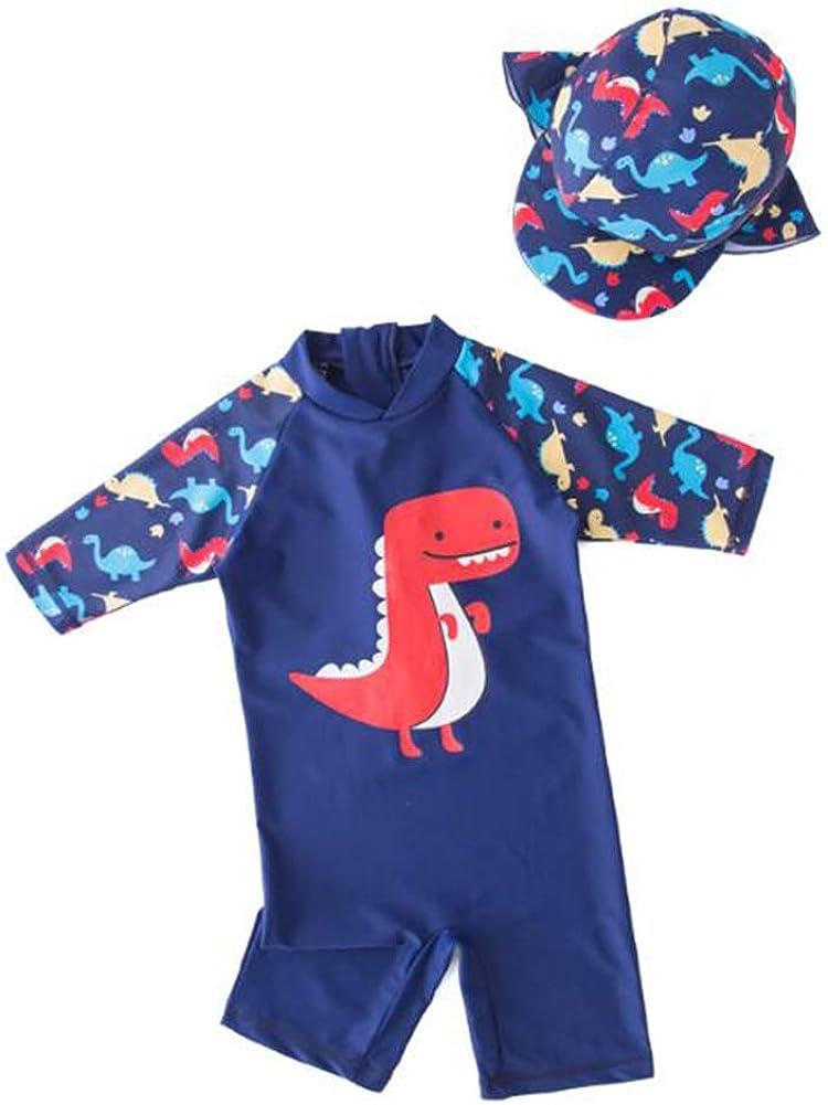 Zulaniu Baby Boys Swimwear Octopus Sunsuit One-Piece Rash Guard with Hat Swimsuit UPF 50+