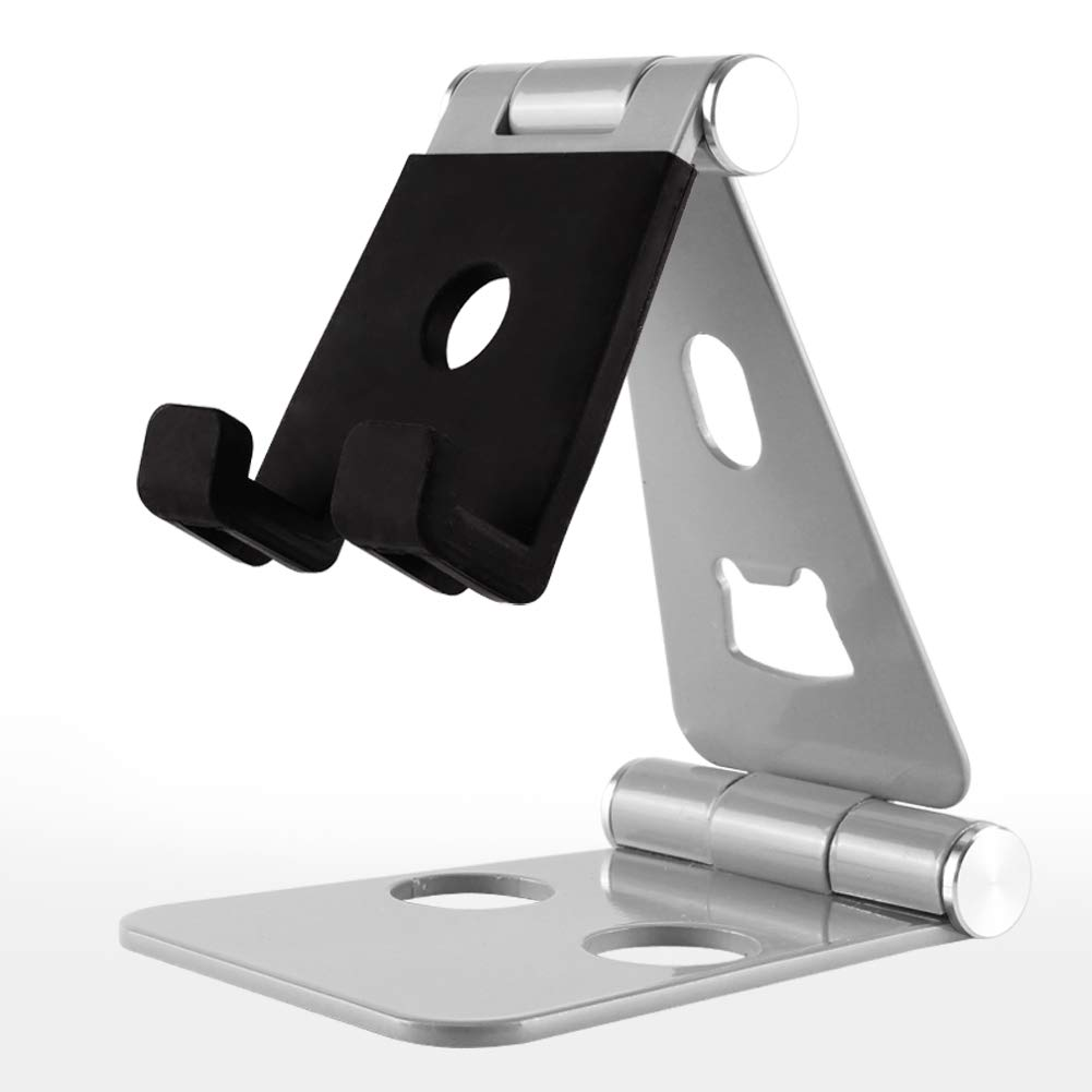 Foldable Tablet Stand, ZOORE Adjustable Phone Stand - Portable Full Alumimum Desktop Tablet Holder Stand compatible with iPad, iPhone, Nintendo Switch, Samsung Tab S7, Fire Tablet, Kindl - Silver