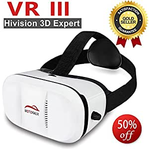 Motoraux 3D Virtual Reality Glasses Innovative Designed VR Headset Fit for iOS Android & PC Phones Series Within 4.0-5.9 Inches