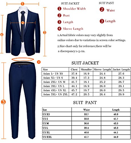 WULFUL Men\u0027s Suit One Button Slim Fit 2 Piece Suit for Men  Casual/Formal/Wedding Party/Tuxedo