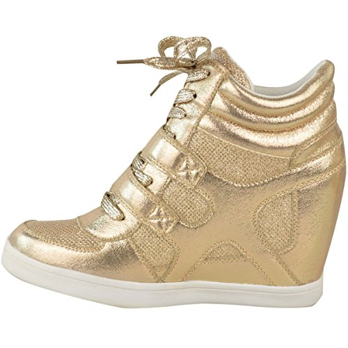 New Sport Ladies Women Gold Branded Top Trainers Hi Size Ankle Pumps Sneakers Wedge Boots Metallic q4fdwdn