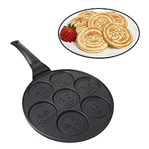 Emoji Pancake Pan - Smiley Face Pan Cake Griddle with 7 Unique Flapjack Faces- Non-stick Surface