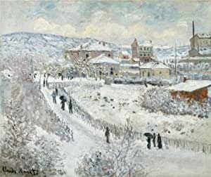 Cotton Canvas ,the Vivid Art Decorative Canvas Prints of oil painting 'Claude Monet,View of Argenteuil,Snow,1874-1875', 30x36 inch / 76x91 cm is best for Bedroom gallery art and Home decoration and Gifts