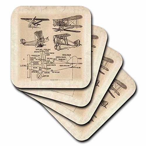 3dRose Early 1900S Sketch of Airplanes - Soft Coasters, Set of 4 (CST_62138_1)