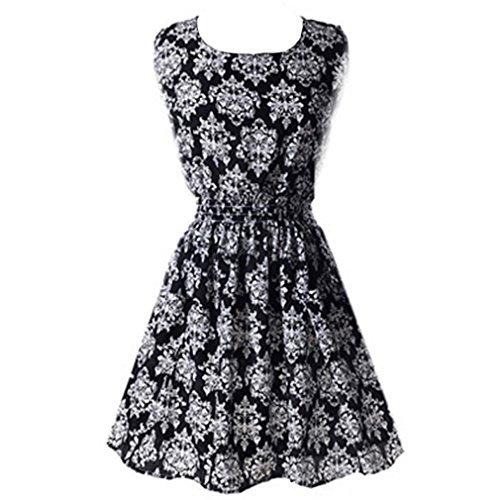 Honghu Women's Fashion Slim Pattern Printing Casual Sleeveless Short Sleeves Chiffon Dress Size X-L Blue and White Porcelain -