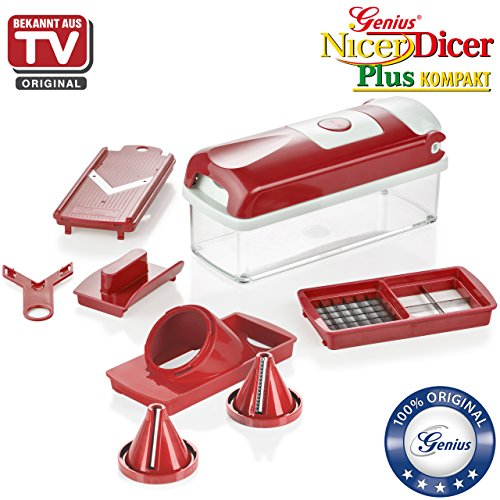 nicer dicer nicer dicer plus compact spiral slicer by genius 8 pieces red fruit and. Black Bedroom Furniture Sets. Home Design Ideas