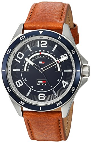 Tommy Hilfiger Men's Casual Sport Stainless Steel Quartz Watch with Leather Strap, Brown, 22 (Model: 1791391