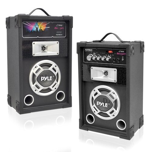 Pyle PSUFM625 Disco Jam 600 Watt 2-Way PA Speaker System, SD Card Reader, FM Radio, AUX/MP3 Input, USB Charging ()
