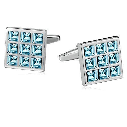 Epinki Men Stainless Steel 9 Grid Sqaure Engraved Crystal Light Blue Cufflinks for Bussiness Wedding ()