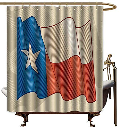 LewisColeridge Vintage Shower Curtain Texas Star,Flapping Texan Flag Lone Star Pattern with Retro Effect Americana,Vermilion Beige Blue,European Style Decoration Bathroom Curtains 70
