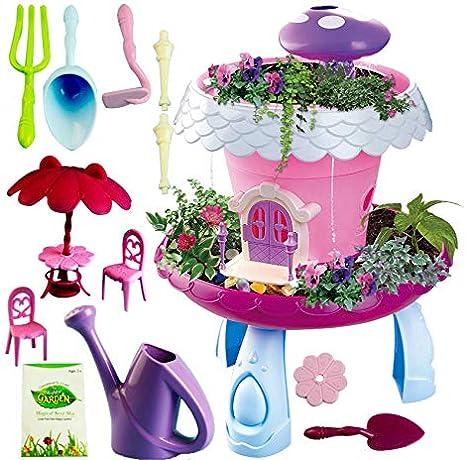 xiaopai Kit de jardín de Hadas Kit de jardín de Hadas, Juguete mágico para la cabaña, Juego de jardín avanzado con Herramientas de jardinería para niños y niñas: Amazon.es: Juguetes y juegos
