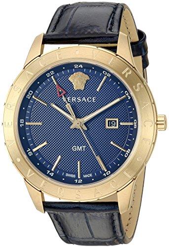 Versace Men's 'Business Slim' Quartz Gold-Tone and Leather Watch, Color:Blue (Model: VEBK00318)