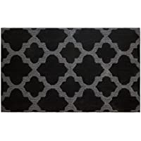 Jean Pierre Alessandra 28 X 48 Textured Printed Accent Rug, Black/Gray