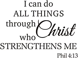 Wall Vinyl Decal Quote Sign Christian Prayer DIY Art Sayings Sticker I can do All Things Through Christ who Strengthens me Home Wall Décor Decal (Black, 15.7''Wx11.8''H)