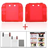 2ds Nintendo Case Best Deals - YUYIKES Protective Soft Silicone Skin Case Cover Shell for Nintendo 2DS + Clear LCD Screen Protector (Red)
