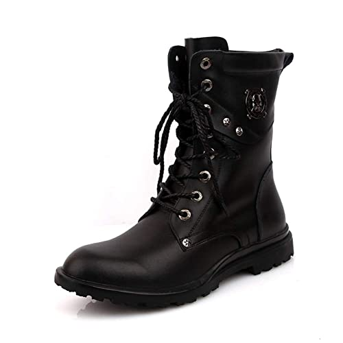info pour vente en ligne qualité supérieure XIGUAFR Chaussure Bottes Martin en Cuir a Lacet Homme Haute Hiver Garde au  Chaud Boots Chaussure de Travail Décontractée de Grande Taille Souple