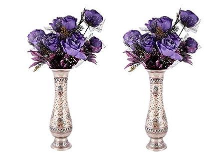 Buy Flower Vase Pair Brass Flower Pot For Living Room Silver Printed