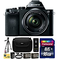 Sony a7K A7 Full-Frame DSLR 24.3 MP Interchangeable Digital Lens Camera FE 28-70mm f/3.5-5.6 OSS Lens with Beginner Accessories Bundle Kit includes 16GB Class 10 SDHC Memory Card + x2 Replacement (1200mAh) NP-FW50 Battery + Home Wall Charger with Car and European Adapter + Professional 60 Inch Photo/Video Tripod + Ultra Violet UV High Definition Filter + Hard Shell Carrying Case + Wireless Shutter Release Remote + Camera Lens Cleaning Kit + Bonus for Digital Prints