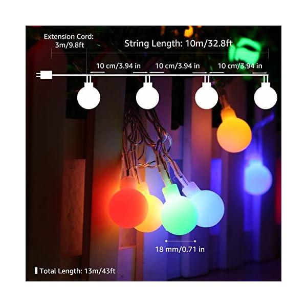 LE Catena Luminosa 13M 100 Lampadina LED RGB, Luci Stringa Impermeabile per Esterno ed Interno, 8 Modalità di Illuminazione e Funzione Timer, Ideale per Decorazione Casa, Natale, Feste, Giardino 2 spesavip
