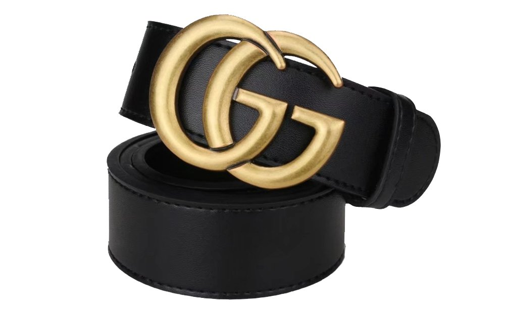 Fashion Black Instagram hot Leather Belt (Old Gold, 100CM 28-30) by GG (Image #1)