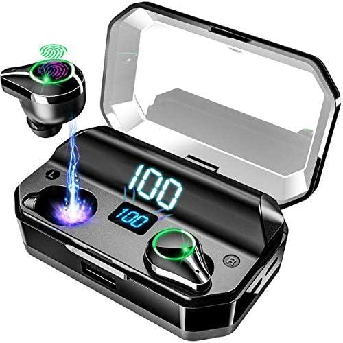 Bluetooth 5.0ワイヤレスイヤフォン、IPX7防水スポーツヘッドフォン、7000Mah充電ボックス付き、屋外フィットネスzz用ステレオインイヤービルトインマイク