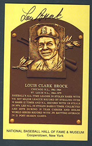 Lou Brock St. Louis Cardinals Signed 3 1/2 x 5 1/2 Hall of Fame Post Card 124259