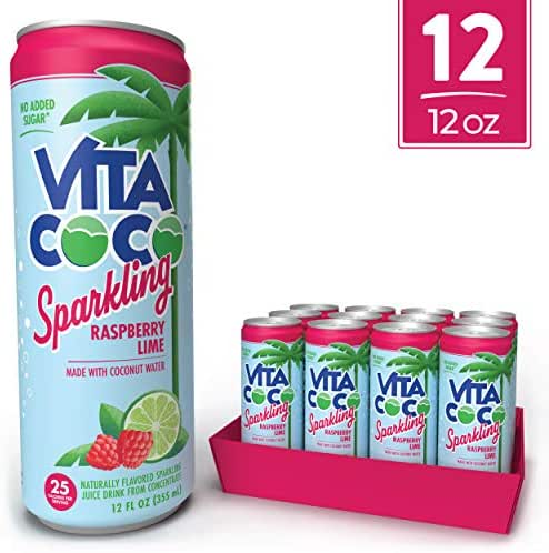 Vita Coco Sparkling Coconut Water, Raspberry Lime - Low Calorie Naturally Hydrating Electrolyte Drink - Smart Alternative to Juice, Soda, and Seltzer - Gluten Free - 12 Ounce (Pack of 12)