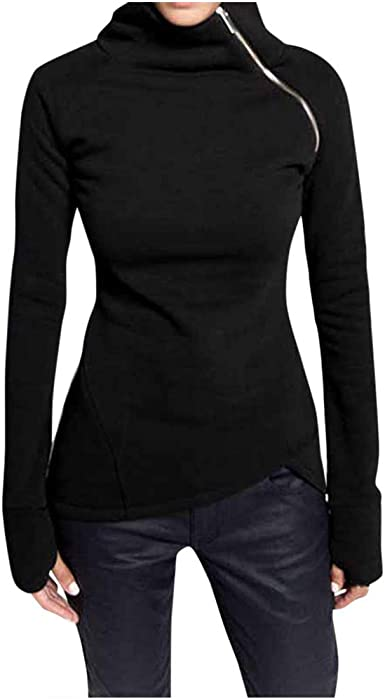 DongDong Clearance❤️Ladies Solid Zippers Pullover,Womens Casual Turtleneck Solid Long Sleeve Blouse Tops Zipper Shirt