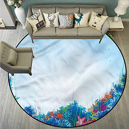 Pet Rugs,Underwater,Marine Coral Reef Sea,with No-Slip Backing,3'11