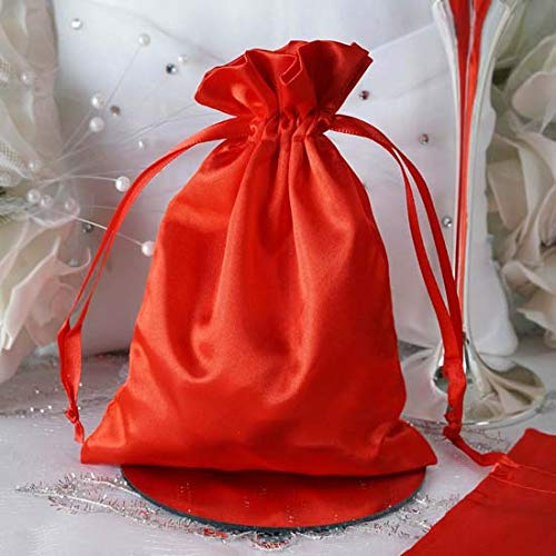 Satin Gift Pouches - Efavormart 60PCS RED Satin Gift Bag Drawstring Pouch Wedding Favors Bridal Shower Candy Jewelry Bags - 5