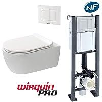 Pack WC suspendu sans bride COMPACT : Bâti-support + Cuvette sans bride + Abattant + Plaque 3/6 L