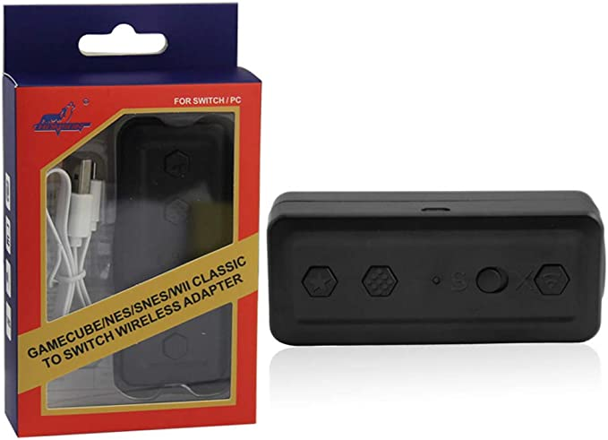 Gszfsm001 4 en 1 adaptador de controlador inalámbrico convertidor compatible con Wii/NES/SNES/GC Gamecube NES: Amazon.es: Hogar