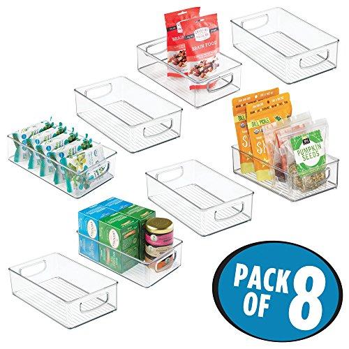 mDesign Plastic Kitchen Pantry Cabinet, Refrigerator or Freezer Food Storage Bins with Handles – Organizer for Fruit, Yogurt, Snacks, Pasta – Food Safe, BPA Free, 10″ Long, 8 Pack – Clear