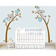 AmazingWall 203X245cm/79.9x96.5  Large Tree Koala Wall Sticker Living Room Bedroom Kids' Room Nursery Decor Home Decorations Removeable 1PCS/SET,Blue Flower