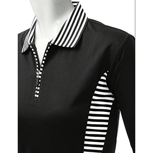 edd70dc2 outlet Xpril Women's casual Coolon Polo Collar Long sleeve T-shirt ...